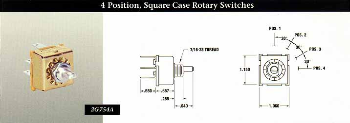 INDAK Switches 4 Position, Square Case Rotary Switches - INDAK Switches