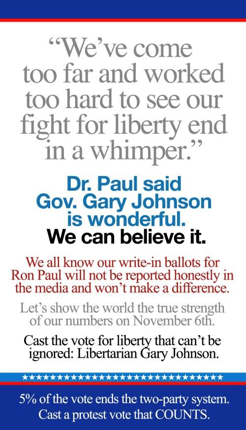 Gary Johnson Protest Vote Poster