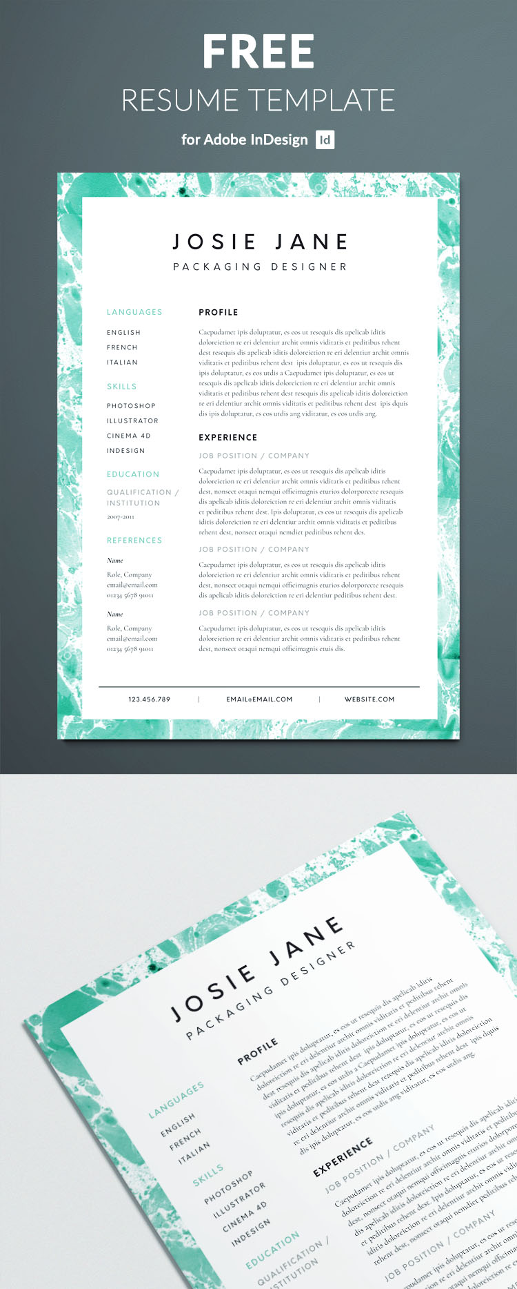 creative cv templates indesign free