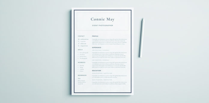 Simple Resume Template for InDesign Free Download