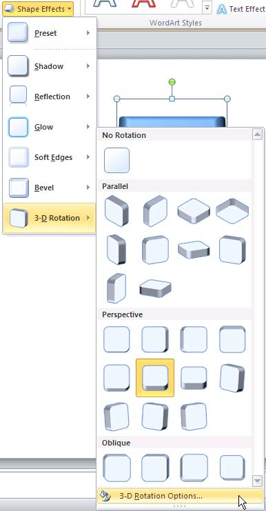 3-D Rotation Options for Shapes in PowerPoint 2010 for Windows