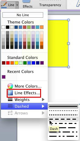 Formatting Outlines for Shapes (Dashes) in PowerPoint 2011 for Mac