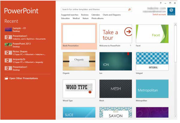 Interface in PowerPoint 2013 for Windows
