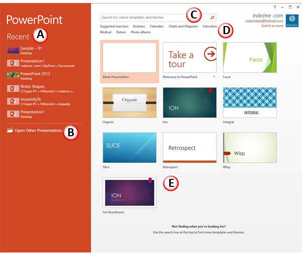 Presentation Gallery in PowerPoint 2013 for Windows