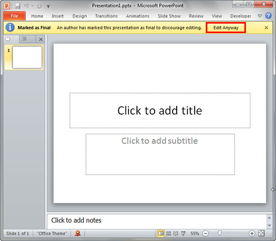 Remove Digital Signatures in PowerPoint 2010 for Windows