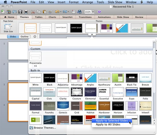 Applying Themes in Word, Excel, and PowerPoint 2011 for Mac