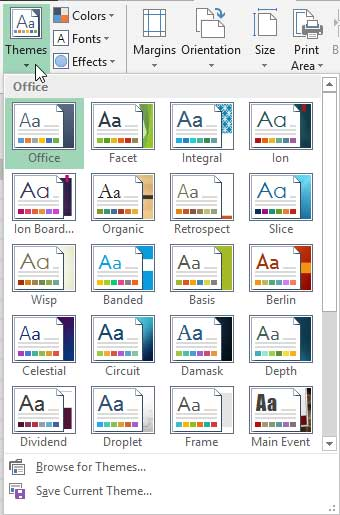 Applying Themes in Word, Excel, and PowerPoint 2013 for Windows
