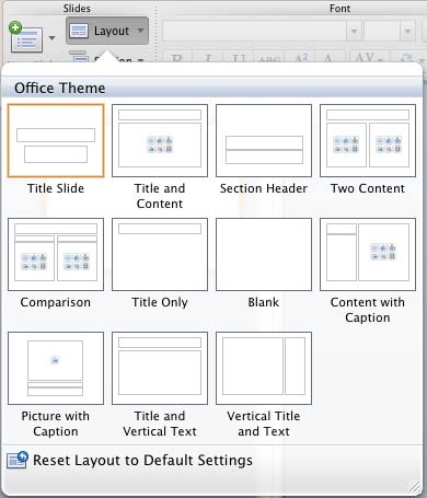 Slide Layouts within Slide Master View in PowerPoint 2011 for Mac