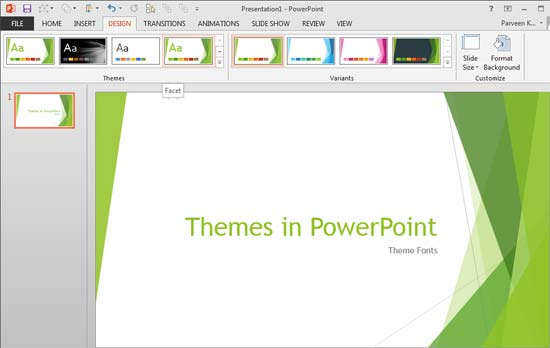 Theme Fonts in PowerPoint 2013