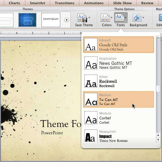 Learn PowerPoint 2011 for Mac Theme Fonts - PowerPoint and