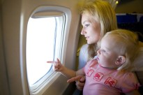 mom and child in the plane