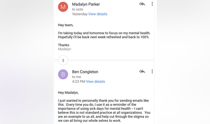 Woman Writes Mail Requesting Leave to Focus on Mental Health; Her - sick leave email