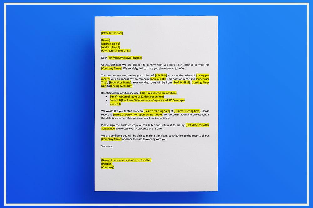 Offer Letter Format - IndiaFilings - Document Center - job offer letter content