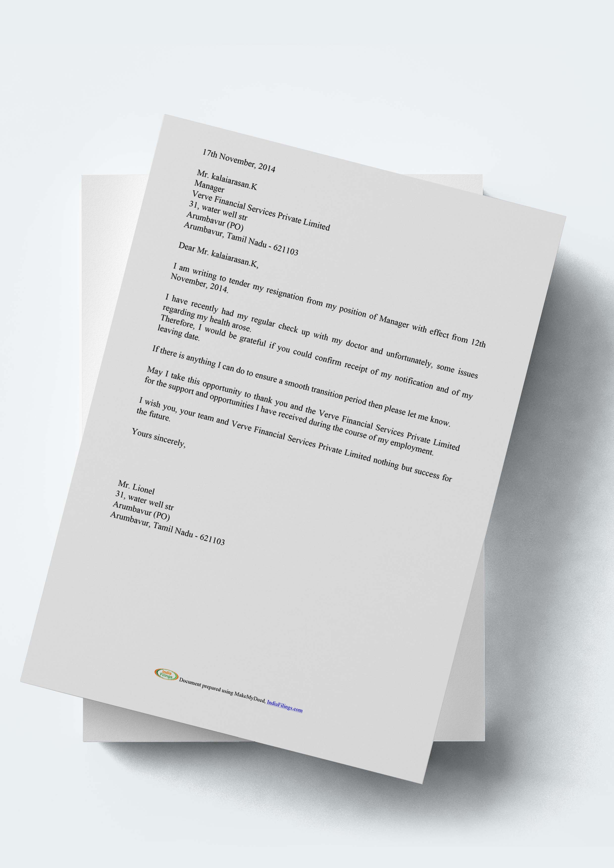 Format Resignation Letter Director Private Limited Company ...