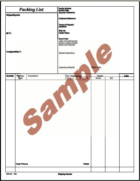 Sample Travel Checklist Sample Export Packing List Sample Export