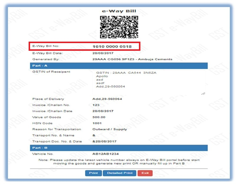 Sample E-Way Bill - IndiaFilings - Learning Centre