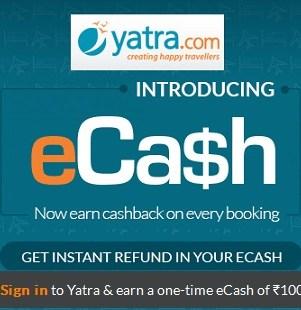 Yatra eCash Free Rs 100