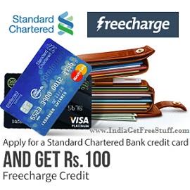 freecharge free credit on standard chartered bank credit card application. Black Bedroom Furniture Sets. Home Design Ideas