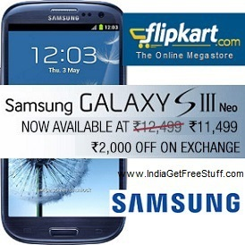 Samsung Galaxy S3 Neo Flipkart Rs.11499 Extra Rs.2000 Off via Exchange Offer