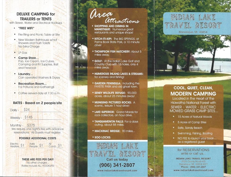 Our Brochure / Site Map - Indian Lake Travel Resort Manistique Mi