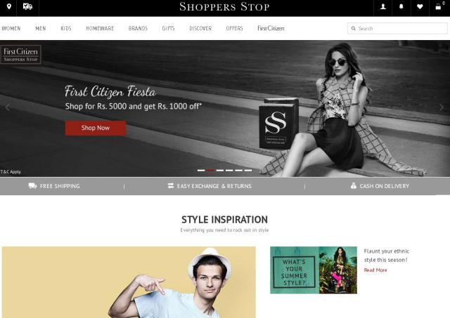 Shoppers Stop redesigned and launched a new website which is responsive across various screen sizes including mobile & tablets