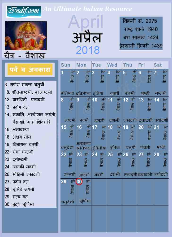 April 2018 - Indian Calendar, Hindu Calendar
