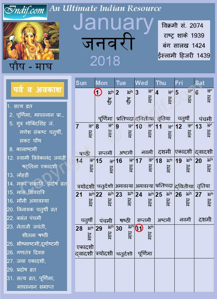 January 2018 - Indian Calendar, Hindu Calendar