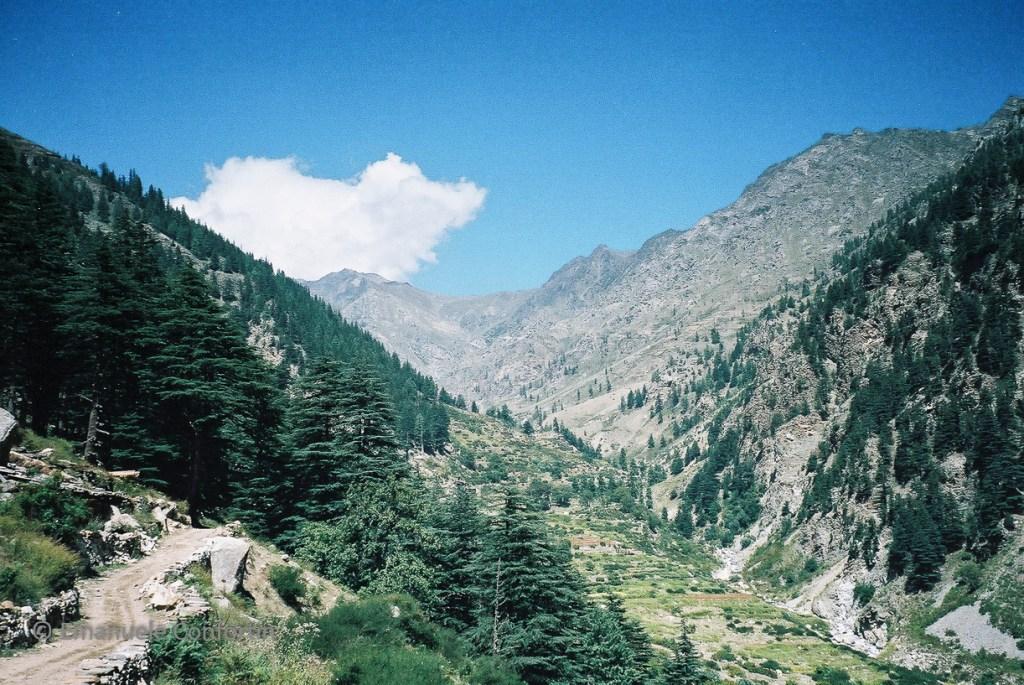 Valle pastorale nell'area del villaggio di Panghi