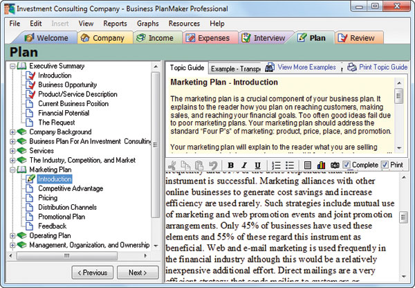 Business PlanMaker Professional Individual Software - professional business plan