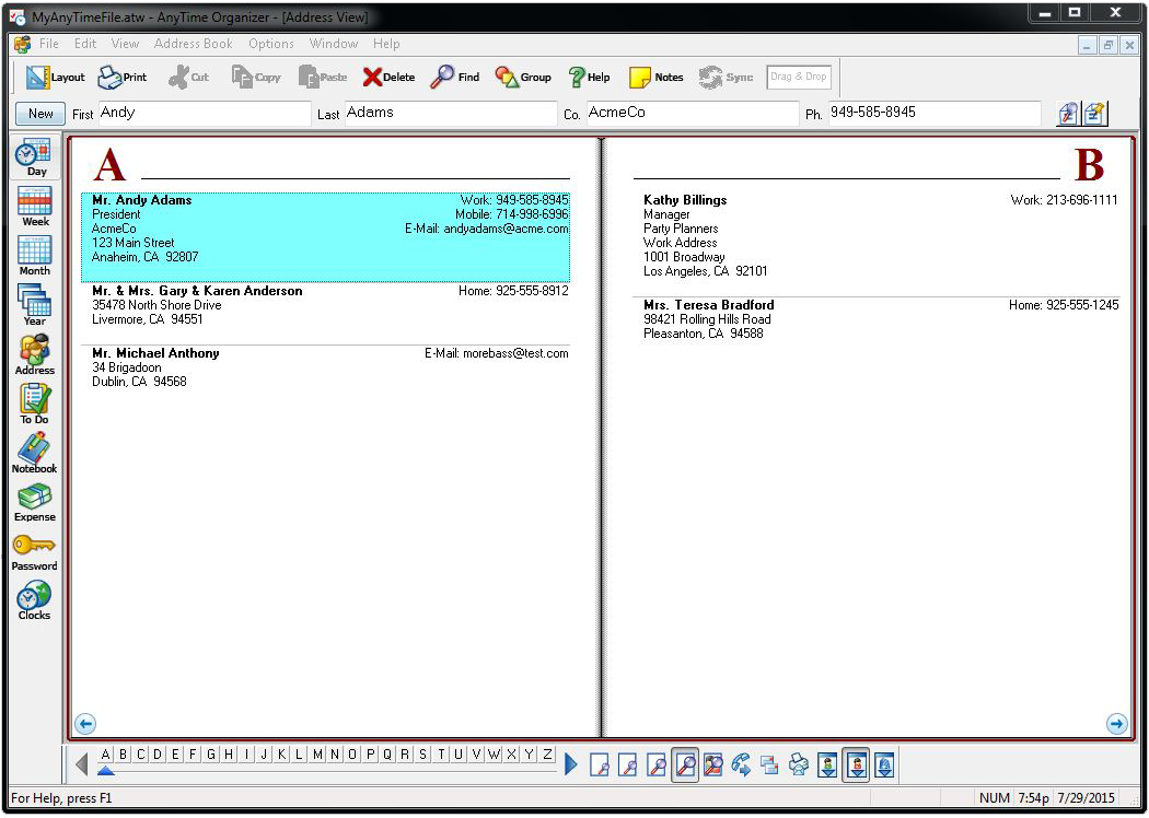 AnyTime Organizer Deluxe 15 Individual Software - software for address book