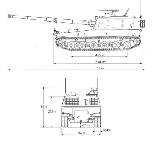 K9_Thunder_self-propelled_howitzer_155_MM_South_Korea_South_Korean_Army_line_drawing_blueprint_001