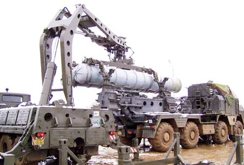 Unloading S-300-missile from vehicle