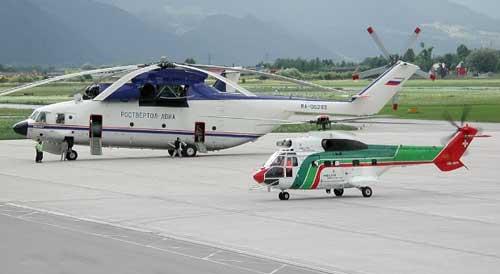 Perbandingan dimensi Mi-26 dengan SA-330 Puma.
