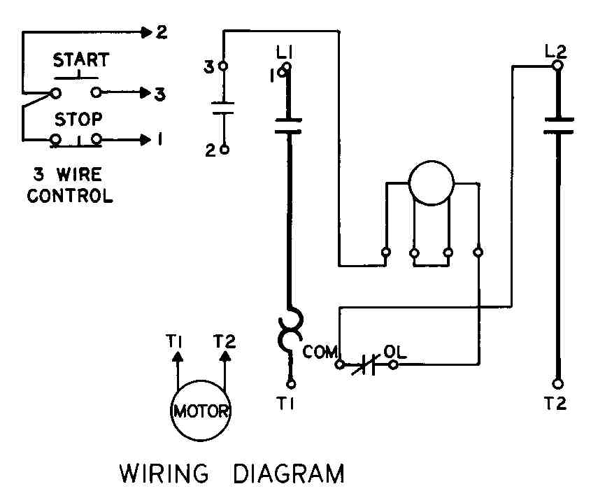 one line of three wire control circuit diagram