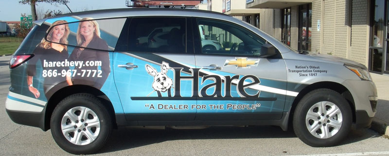 small suv business vehicle wrap, Hare Chevrolet vehicle wrap, Chevy vehicle wrap, dealership vehicle wrap