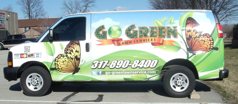 full van wrap, service van business wrap, van graphics, lawn care van wrap, go green service van wrap