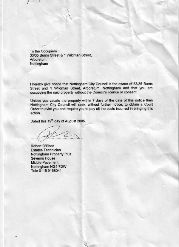 eviction notice letter
