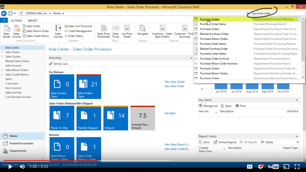 Create a Purchase Order in Microsoft Dynamics NAV 2015