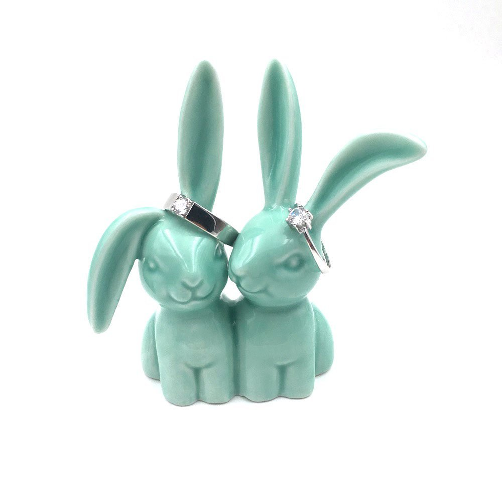 OYLZ Ceramic Rabbit Bunny Jewelry Ring Holder for Wedding