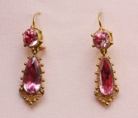 pink topaz and rock crystal earrings