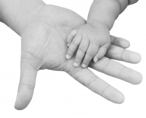 father and childs hands
