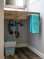 DIY Pipe And Wood Bathroom Vanity