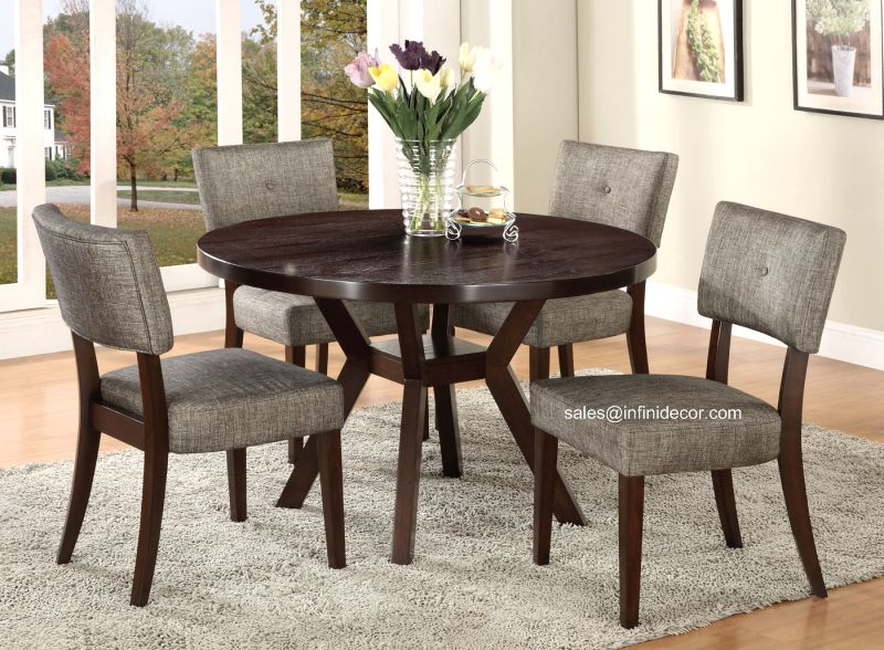 5pcs Modern Espresso Round Dining Table And Chair Set