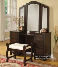 3PC Elizabeth Vanity Set - Vanity Table / Mirror / Bench ...
