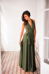 Olive green infinity dress, dark green bridesmaid dress ...