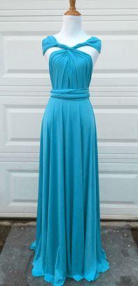 Teal Blue Convertible Dress Floor Length, Bridesmaids ...