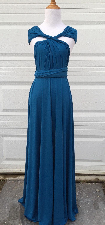 Peacock Teal Infinity Bridesmaid Dress, long bridesmaid