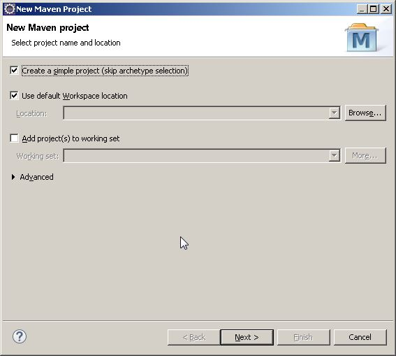 Cuadro de diálogo New Maven Project