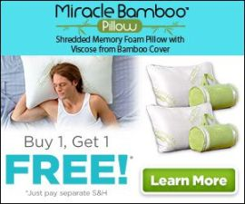 Miracle Bamboo Pillow Memory Foam Pillow Stay…