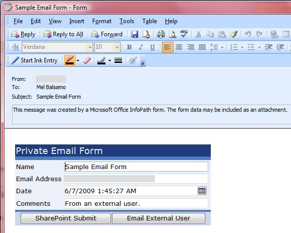 Using InfoPath E-mail Forms to Communicate with External Users - Mel